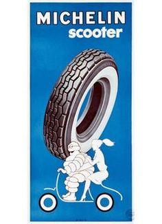 VESPA~VintageArte ♥- Michelin Bibendum Scooter Tire Poster : Posters and Framed Art Prints Available Michelin Man, Michelin Tires, Vintage Ads, Vintage Images, Vintage Posters, Tyre Brands, Illustrations Posters, Framed Art Prints, Motorbikes