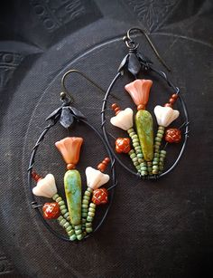 Blossom Series, Flowers, Wire Wrapped, Hoops, Artisan Made, Cactus, Southwest, Summer, Glass, Organic, Rustic,Unique, Beaded Earrings by YuccaBloom on Etsy