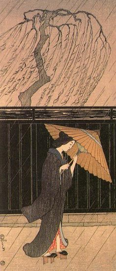 Woman in a Rainstorm  by Fritz Capelari, 1915  (published by Watanabe Shozaburo)