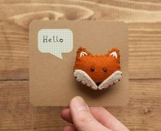 Friendly Fox Brooch Handmade Felt Fox Pin Hand by builtonbranches, $15.00