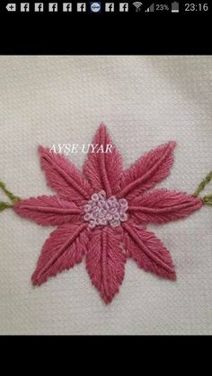 This Pin was discovered by Res Hand Embroidery Flower Designs, Hand Embroidery Videos, Embroidery Stitches Tutorial, Hand Work Embroidery, Simple Embroidery, Embroidery Patterns, Zardozi Embroidery, Embroidery Leaf, Embroidery Monogram