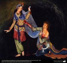 <3<3 I am a lover with my broken heart<3<3    .No test for this broken heart, 1950 Masterpieces of Persian miniature, Artist: Professor Mahmoud Farshchian | Gallery of Islamic Art and Photography