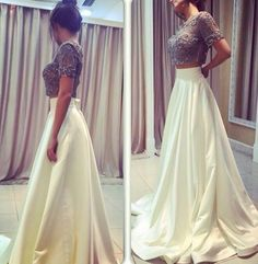 Two Pieces Beading Sexy Prom Dress,Long Prom Dresses,Prom Dresses,Evening Dress,