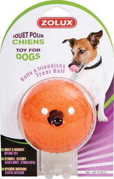 """Rubber toy """"Treat Ball"""" assorted orange - Toys that last and last! - This range of very sturdy, long-lasting rubber toys will help your dog be well-balanced and learn, as well as encouraging special times between master and dog. More informations on zolux.com  #dog #zolux"""