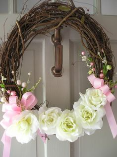 Pink and White Wedding Wreath