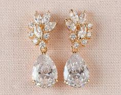 Orecchini da sposa oro Orecchini cristallo di nozze dei gioielli di nozze gioielli da sposa, Tegan sposa orecchini