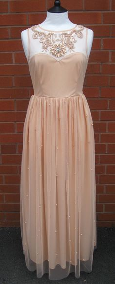 Nude Blush UK10 US6 Vintage inspired 1920s Flapper Gatsby Vibe Deco Embellished Polka Dot Wedding Bridesmaid Prom Maxi Dress Hand Made New