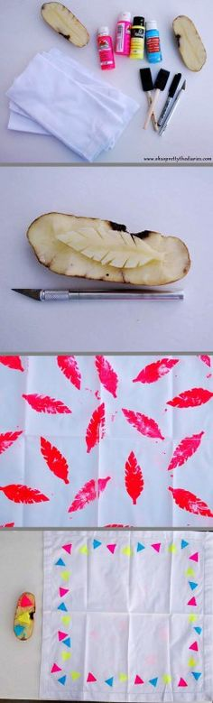 Potato stamping - could use on party napkins, table runner, table cloth, etc.
