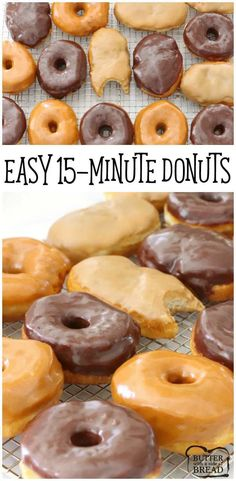 Easy 15 Minute Donuts is one basic donut glaze altered 3 ways results in these amazing Donut recipes: Maple Bars, Chocolate Glaze Pumpkin Spice Glazed. Easy Donut Recipe from Butter With A Side of Bread Chocolate Donuts, Chocolate Glaze, Chocolate Recipes, Donut Glaze Recipes, Easy Donut Recipe, Biscuit Donuts, Baked Donuts, Homemade Donuts, Homemade Biscuits