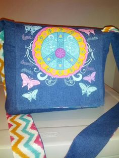 Blue Jean reversible purse with side pockets