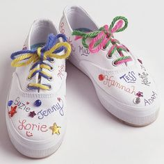 Fun Sneakers    Lace plain white sneakers with colorful yarn. Help young children glue on sparkly jewels. For last-day-of-school fun or a slumber party, have friends sign the shoes with fabric markers.  #partyfavors #decoratedsneakers