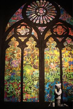 Banksy- Personal graffiti/color assignment/based on stained glass windows/triptychs?