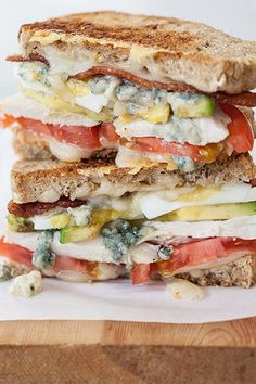 California Cobb Grilled Cheese  Melt tomato, bacon, grilled chicken, blue cheese and avocado for a new take on the classic cob.