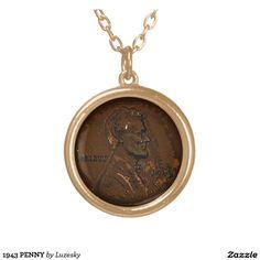 1943 PENNY ROUND PENDANT NECKLACE Promote LYKENS-LUZESKY for CASH!   http://www.zazzle.com/luzesky