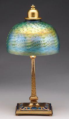 Art Nouveau Tiffany, extremely rare damascene desk lamp