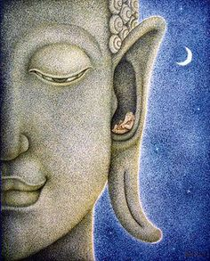 Ganesha, telling secrets to the Buddha. Inner hearing.