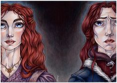 """Maiden and Mother by ProKriK """"Sansa was a lady at three, always so courteous and eager to please. She loved nothing so well as tales of knightly valor. Men would say she had my look, but she will grow into a woman far more beautiful than I ever was, you can see that. I often sent away her maid so I could brush her hair myself. She had auburn hair, lighter than mine, and so thick and soft... the red in it would catch the light of the torches and shine like copper."""" Sansa-- Catelyn"""