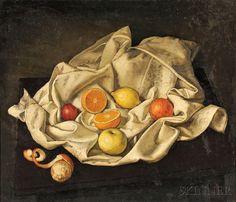 Isaac Diaz Pardo (Spanish, 1920-2012) Still Life with Fruit on a White Cloth…