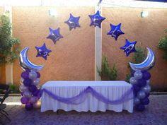 Purple and silver balloon arch Balloon Centerpieces, Balloon Decorations Party, Centerpiece Decorations, Arch Decoration, Balloon Ideas, Ballon Arch, Balloon Columns, Baby Shower Ballons, Baby Boy Shower
