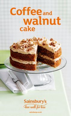 The ultimate sweet and rich coffee and walnut cake recipe – perfect with a cuppa! Just Desserts, Dessert Recipes, Sweet Desserts, Sainsburys Recipes, Cake Receipe, Coffee And Walnut Cake, Cake Bars, Easter Recipes, Easter Food