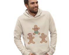 Men's Gingerbread Men Rhinestone Diamante Hoodie