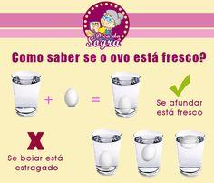 Dicas e truques para se dar bem na cozinha. Como escolher o ovo certo na hora de preparar aquela receita. Faça o truque do ovo na água!!!
