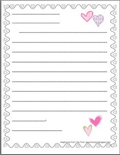 writing paper for kids to write friendly letters | Valentine's Cards
