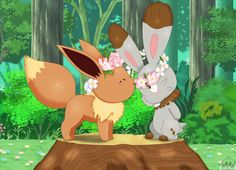 Love in the flower garden other version ...  From jirachicute28 ...  pokemon, eevee, serena's eevee, clemont's bunnelby, bunnelby