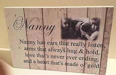 Nana nanny granny QUOTE & PHOTO GIFT shabby chic home plaque free standing sign in Plaques & Signs | eBay