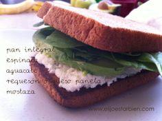 Ideas saladas para el desayuno Sandwiches, Healthy Food, Healthy Recipes, Bread Recipes, Salads, Vegetarian Recipes, Eating Clean, Breakfast, Healthy Foods