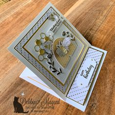 Sweet Honey Bee Easel Card for the Alphabet Challenge Features Honey Bee Stamp Set. Fun Fold Cards, Folded Cards, Card Making Tutorials, Making Ideas, Bee Honeycomb, Honey Bee Stamps, Bee Cards, Shaped Cards, Easel Cards