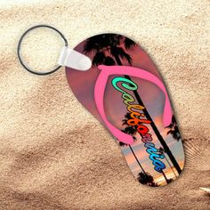 d8cdb4b22eebe California Keychain California Flip Flop by PrintsAtTheJunction Palm Trees