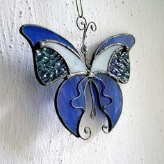 Stained Glass Blue Butterfly Home Decor