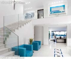 View top-quality stock photos of Beautiful Staircase In Luxury Villa. My Dream Home, Dream Homes, Luxury Villa, Open Concept, Contemporary Interior, Home Interior Design, Home Goods, Sweet Home, Stairs