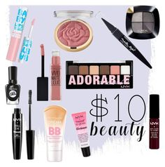 """$10 Beauty"" by deadgirlaa ❤ liked on Polyvore featuring Maybelline, NYX, Milani, L'Oréal Paris, Sally Hansen and 10dollarbeauty"