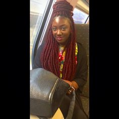 ME Red Faux Locs Braids with Marley Hair Done by moi #red #faux #locks #marleyhair