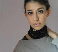 Crocheted Choker Necklace Cowl Adjustable Black Blood Red - Cotton Flower Lace Luxury NOTRE-DAME