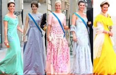 The Royal Ladies with their beautiful gowns attended Prince Carl Philip and Princess Sofia's Wedding, June 13, 2015