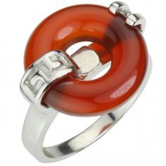 Good Luck Red Agate Rhodium Plated Sterling Silver Ring
