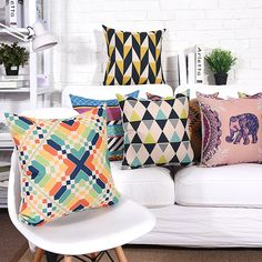 Get Discount Wholesales Cushion Cover Geometric Abstract Elephant pillow case Throw decorative cushion covers Geometric Cushions, Colourful Cushions, Elephant Pillow, Nordic Art, Textiles, Cushions On Sofa, Home Textile, Cushion Covers, Linen Fabric