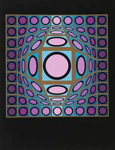 Victor Vasarely Untitled Edition: 250 Medium:Screenprint in colors on black paper Size: x cm Signed and numbered Victor Vasarely, Geometry Pattern, Josef Albers, Illusion Art, Pin Up Art, Geometric Art, Op Art, Optical Illusions, Artist Art