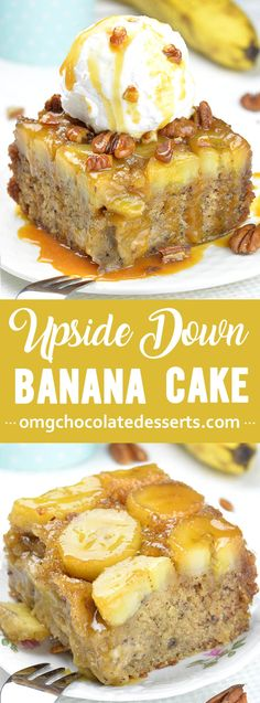 Banana Upside Down Cake - incredibly moist and flavorful dessert Caramelized Banana Upside Down Cake brings banana bread to a whole new level. Best yet? It takes one bowl and only 1 hour to make! Banana Dessert Recipes, Köstliche Desserts, Delicious Desserts, Yummy Food, Best Banana Cake Recipe Moist, Overripe Banana Recipes, Overripe Bananas, Plated Desserts, Cupcake Recipes