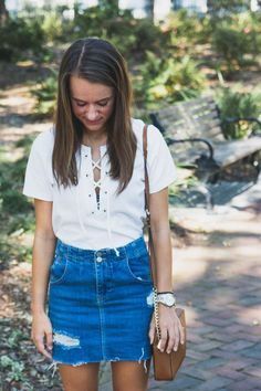 fall fashion, classic outfit, college, free people, michael kors, denim skirt