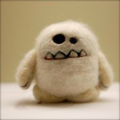 Needle Felted Cashmere Wool Yeti Egg Toy Made to by asherjasper, $35.00