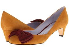 Johnston & Murphy Anita Bow Pump Chocolate & Pink Suede - 6pm.com