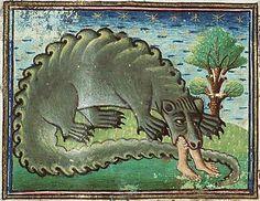 Cредневековый бестиарий | Крокодил чудовище, которое горько плачет всегда после того, как съест человека.