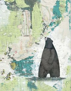 Bear Painting , Acrylic Painting Reproduction , Mixed Media Collage Print , Whimsical Art Print