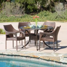 Outdoor Best Selling Home Decor Furniture Pill Wicker 5 Piece Round Patio Dining Set - 294944