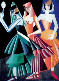 "Aleksandra EKSTER - Costume sketch for ""Dance with seven veils"" (Александра Экстер) (Ukrainian, Cubo-Futurism, Suprematism, Constructivism, Designer Sonia Delaunay, Robert Delaunay, Pinturas Art Deco, Women Artist, Ballet Russe, Art Deco Paintings, Russian Avant Garde, Oil Painting Reproductions, Russian Art"