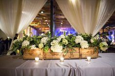 Pretty tabletop décor - wood crate basket with greenery and hydrangea Wooden Centerpieces, Wedding Centerpieces, Wedding Decorations, Centrepieces, Rustic Wedding, Our Wedding, Wedding Table, Wedding Bells, Wedding Flowers